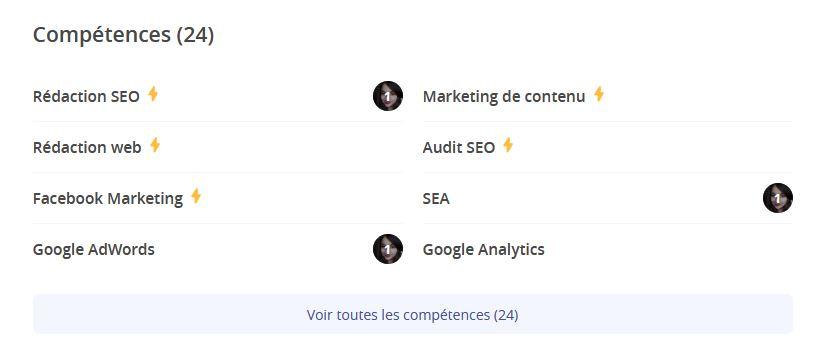 compétences profil freelance sur Malt